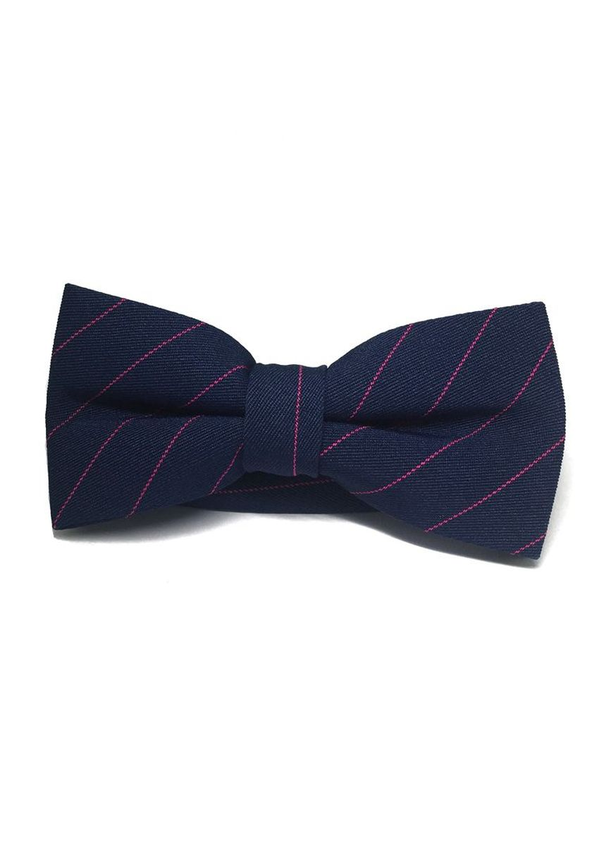 Blue color Ties . Bars Series Pink Stripes Navy Blue Cotton Pre-Tied Bow Tie -