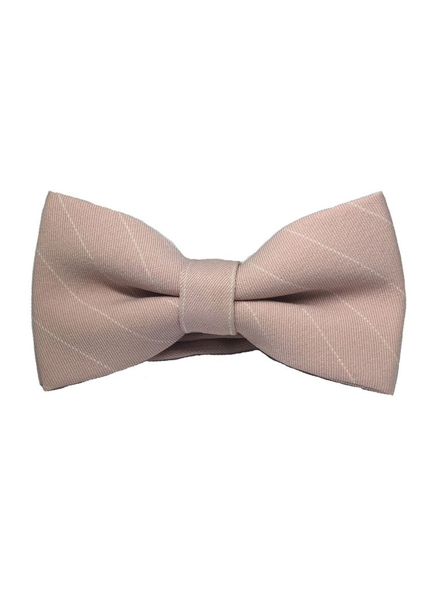 Pink color Ties . Bars Series White Stripes Pale Pink Cotton Pre-Tied Bow Tie -