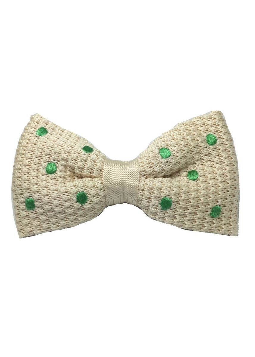 White color Ties . Webbed Series Green Polka Dots White Knitted Bow Tie -