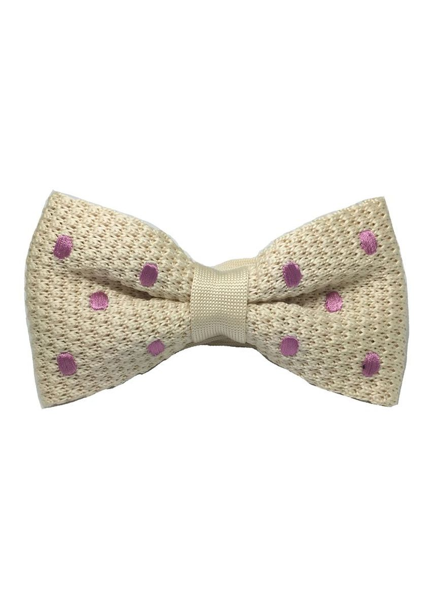 White color Ties . Webbed Series Light Purple Polka Dots White Knitted Bow Tie -