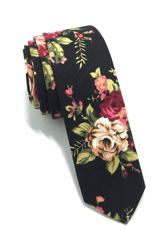 Multi color Ties . Potpurri Series Black Floral Design Cotton Tie -