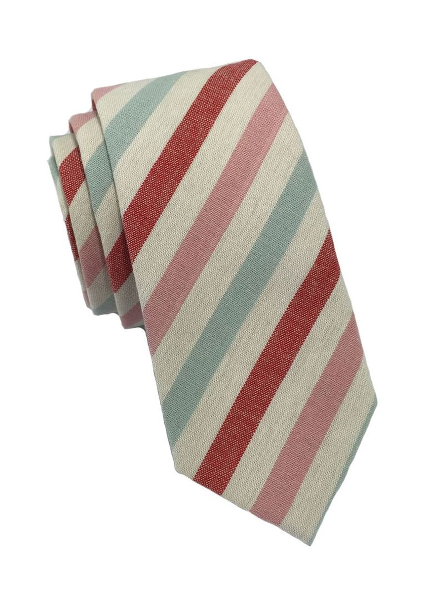 White color Ties . Passe Series Baby Pink Blue Red & White Stripes Cotton Tie -