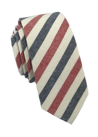 White color Ties . Passe Series Blue Red & White Stripes Cotton Tie -