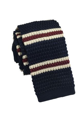 Blue color Ties . Purl Series Red & White Stripes Navy Blue Knitted Tie -