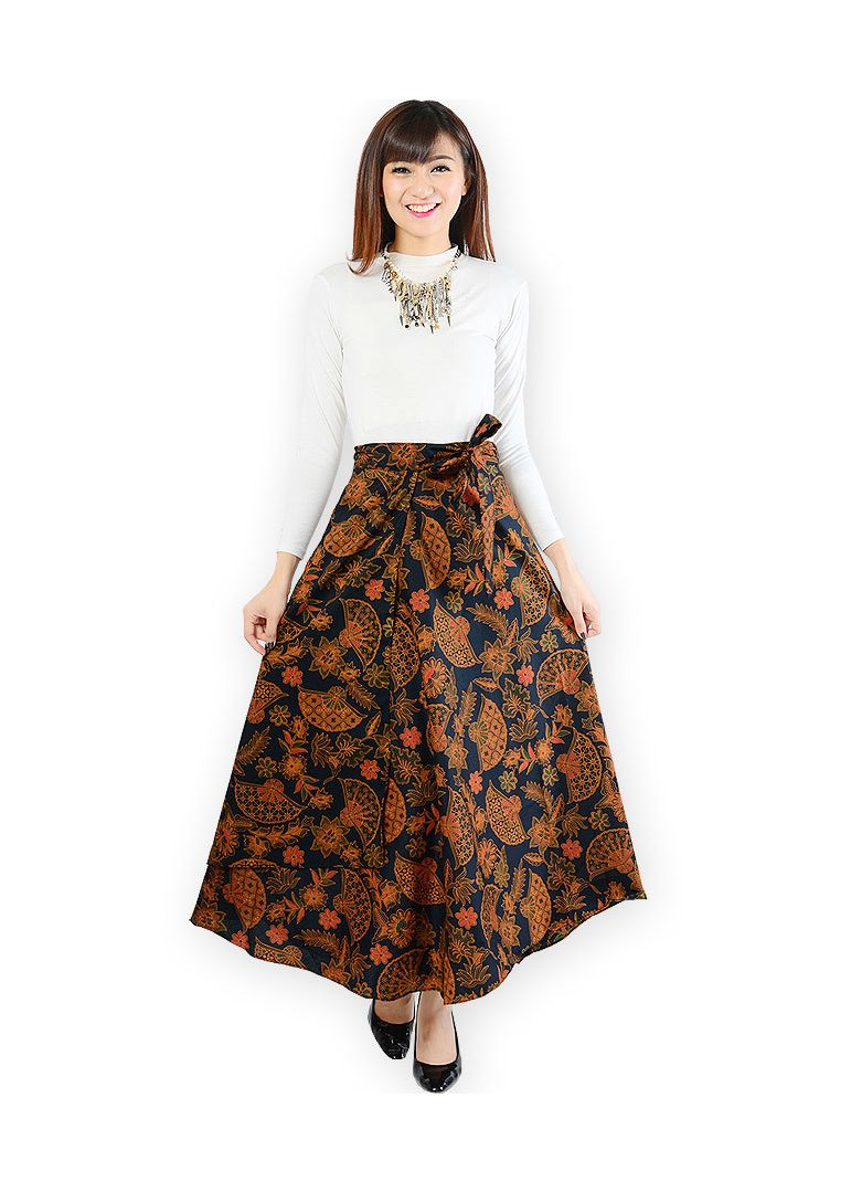 Jo Nic Rok Batik Lilit Wrapped A Line Long Skirt Fit To Big Size Btnl70254