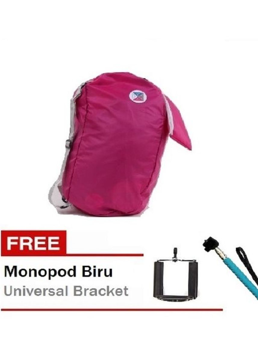 Merah Muda color Ransel . Iconic Three Way Korean Foldable Backpack with Carrying Pouch Free Monopod Biru + Universal Bracket -
