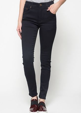 Black color Jeans . 2Nd RED Jeans Slim Fit Wanita Celana Jeans Melar 117709 -