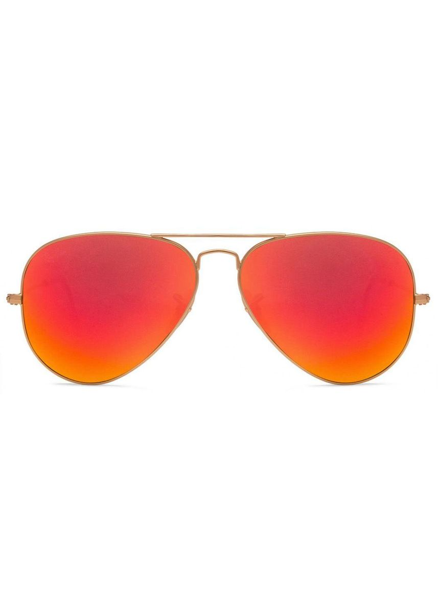 Orange color Sunglasses . Ray Bans 3025 112/69 Golden Red Reflector Mirror Aviator Sunglasses -