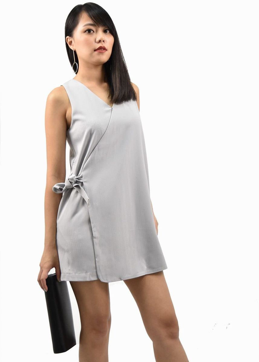 Grey color Jump Suits . Scarlett Wrap Tie Romper -
