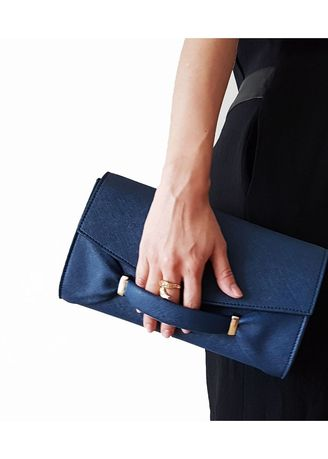 Wallets and Clutches . Audrey Navy Clutch -