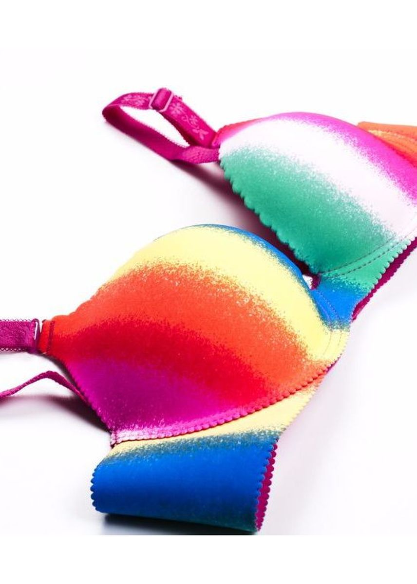 Multi color Bras . Hadya dark rainbow bra -