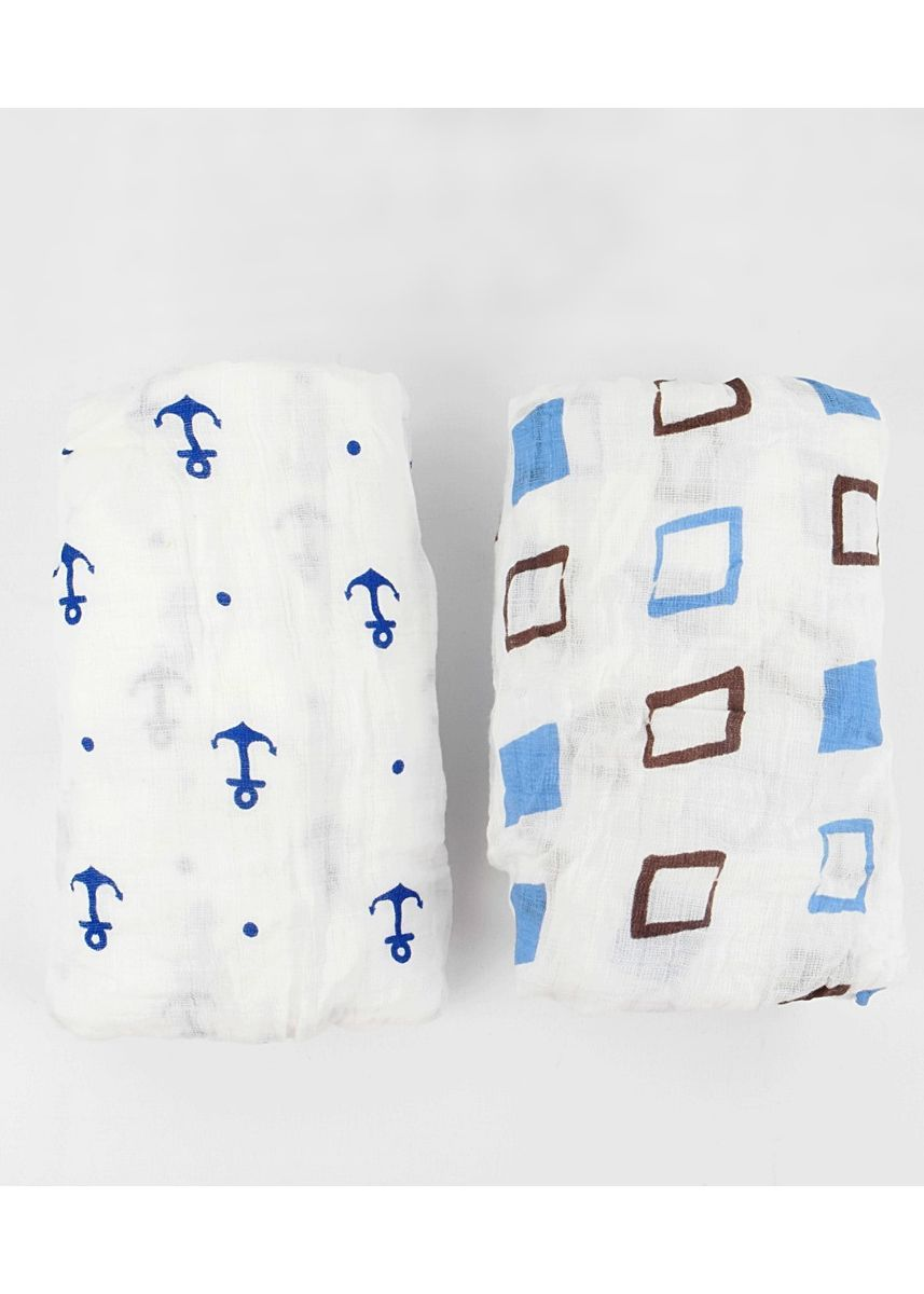Multi color Dresses . Anchor and square swaddle set of 2 -