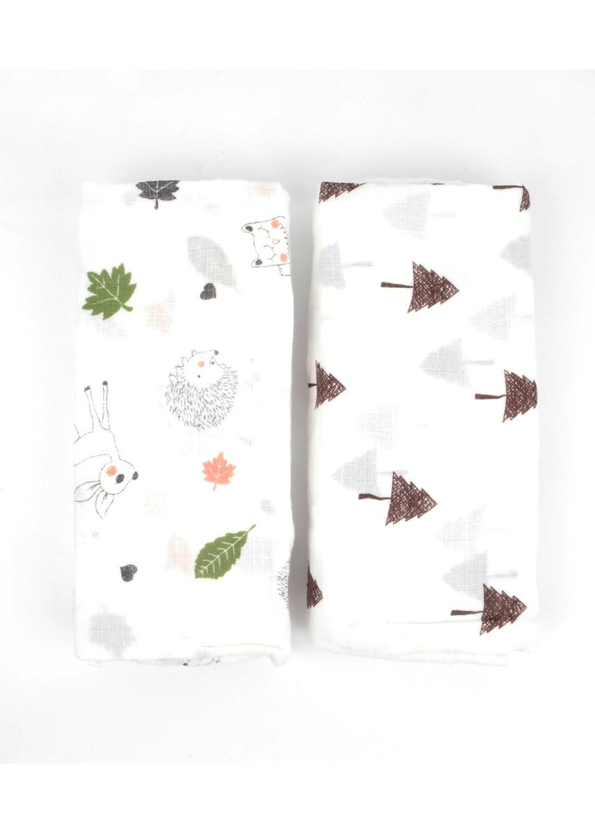 Multi color Dresses . Trees and hedgehog swaddle set of 2 -