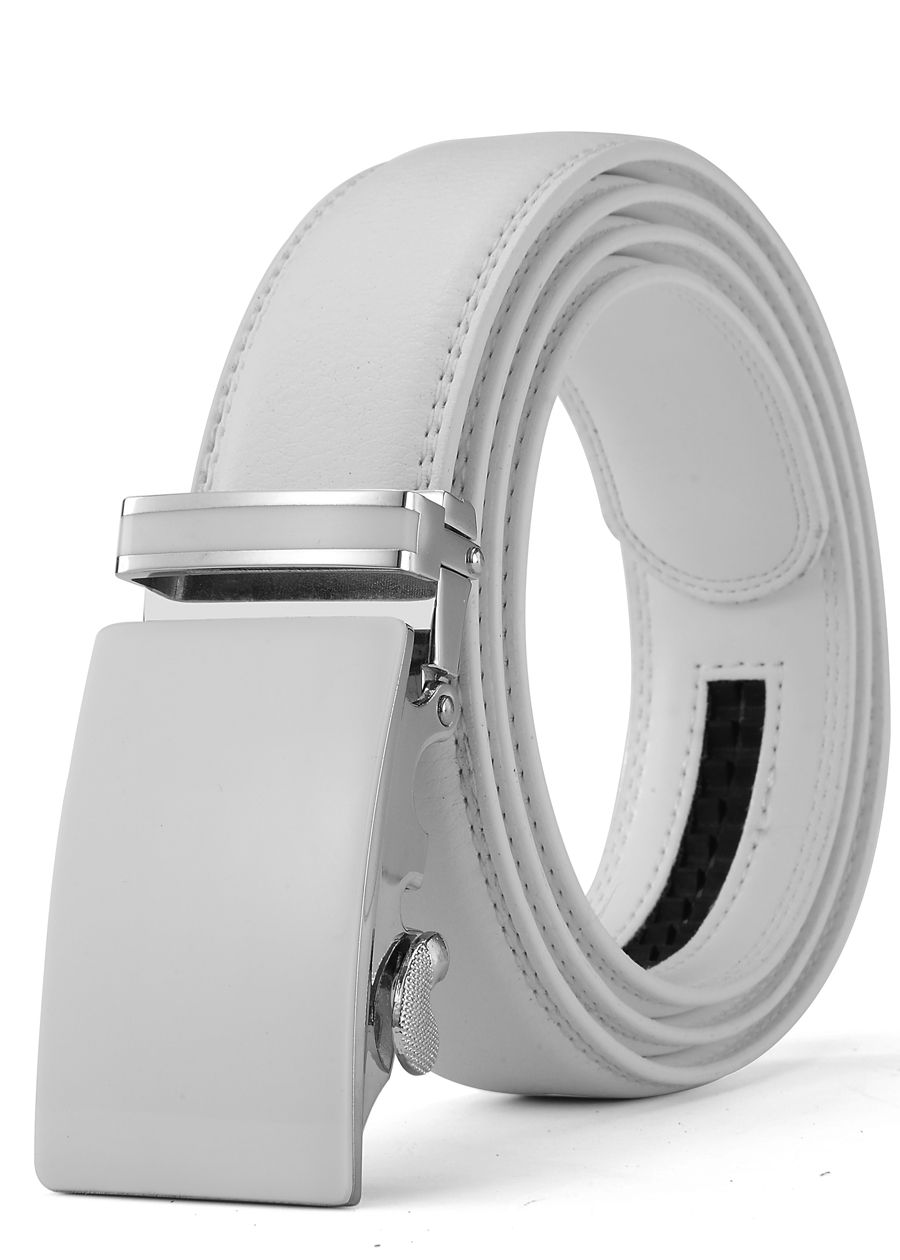 XHTang Men/'s Fashion Automatic Buckle Real Leather Ratchet Belt Waistband Jeans