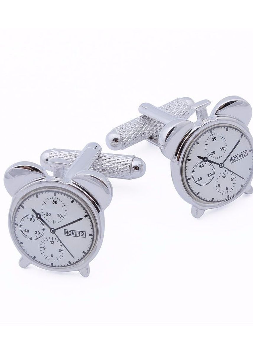 ขาว color กระดุมข้อมือ . Alarm Clock Model Design Casual Men's Cufflinks -