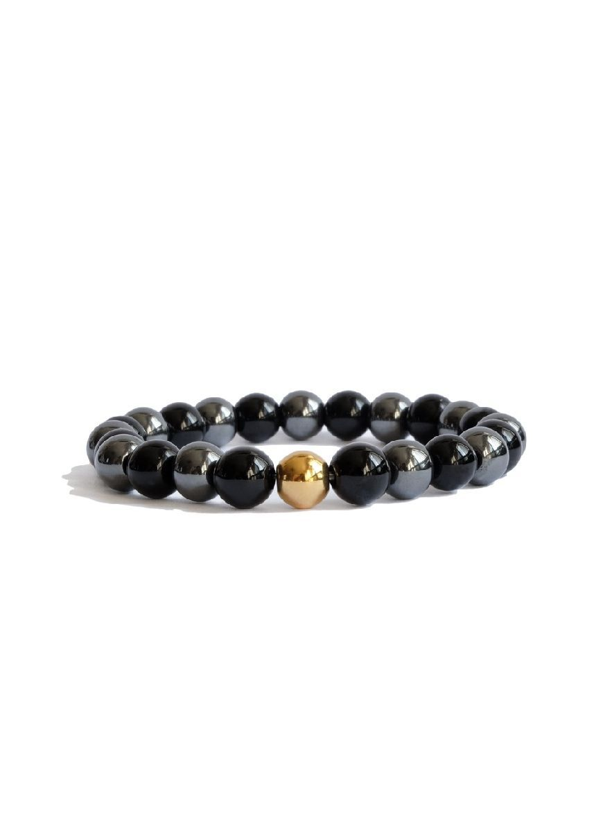 Black color  . Citystate Beads Agate And Hematite With Gold Accent Bracelet -