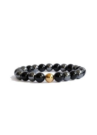 . Citystate Beads Agate And Hematite With Gold Accent Bracelet -
