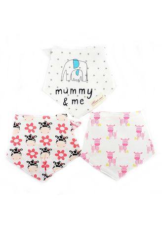 Multi color Accessories . Pinky Zebras and Mummy Reversible Bib Set of 3 -