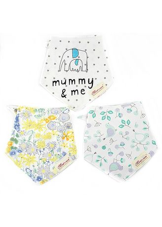 Multi color Accessories . Flowers and Mummy Reversible Bib Set of 3 -