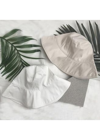 Hats . DOUBLE WHITE AND BEIGE Cotton wide bucket hat -