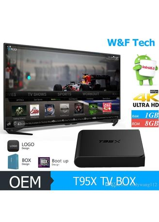 Hitam color  . Android TV Box T95X 4K S905X QuadCore Amlogic Marshmallow 6.0 RAM 1GB ROM 8GB -