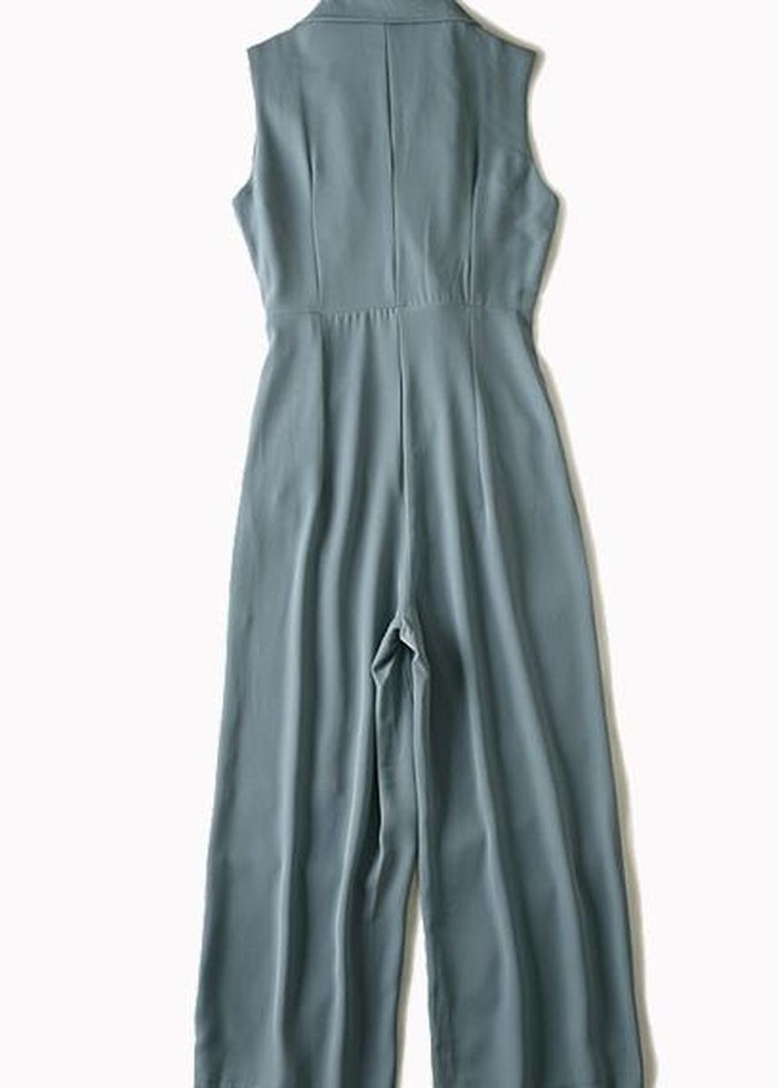 Blue color Jump Suits . Sleeveless Notched Lapel Playsuit -