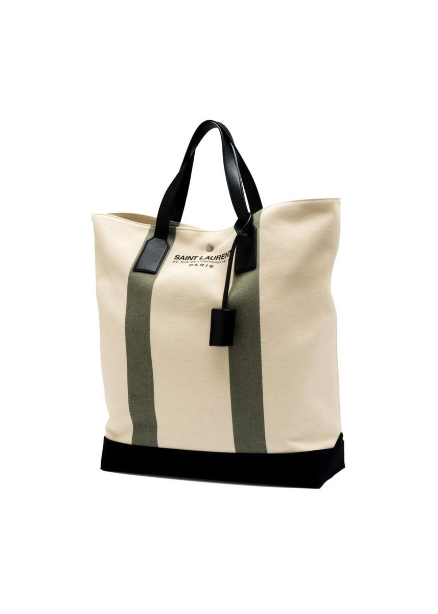 White color Hand Bags . Saint Laurent Beach Shopping North South Tote Bag -