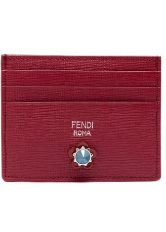 Red color Wallets and Clutches . Fendi Flowerland Card Holder -