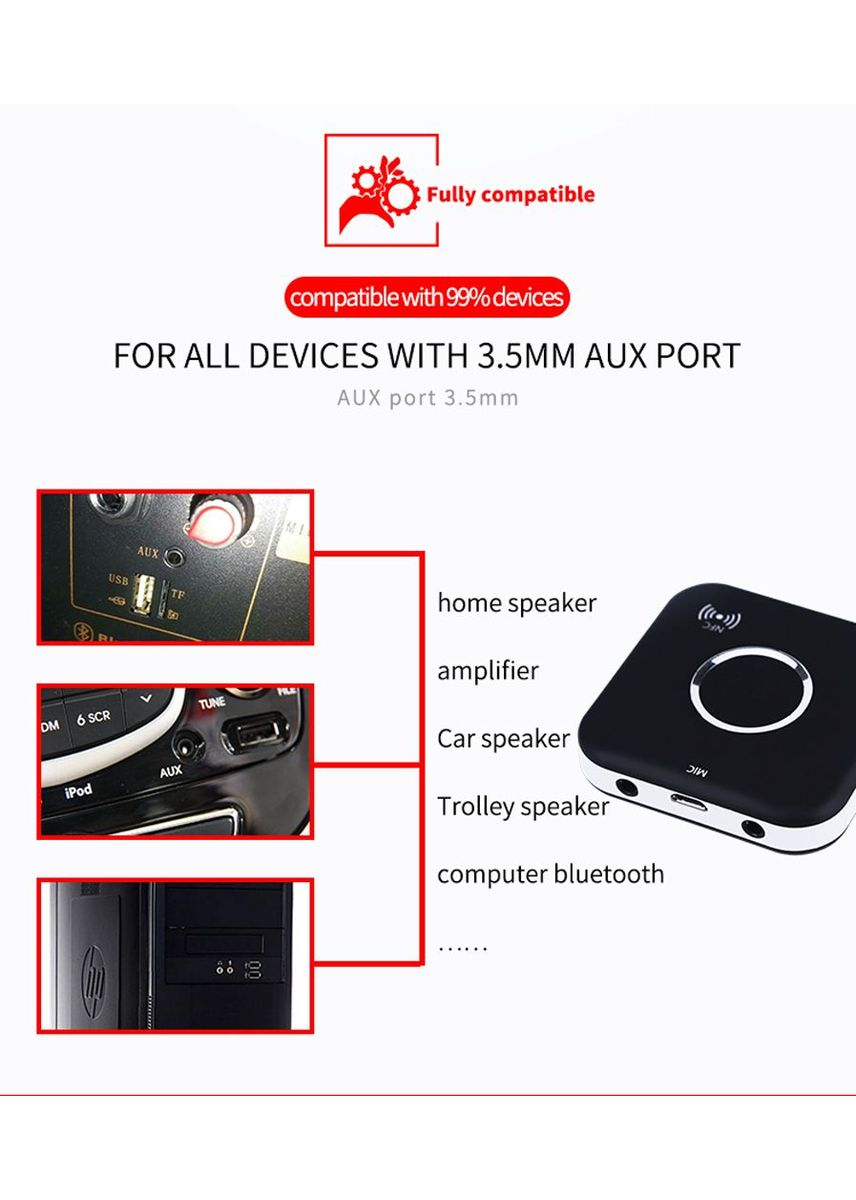 Hitam color  . B7 Bluetooth 4.1 HiFi Audio Music Receiver Handfree with NFC and Mic -