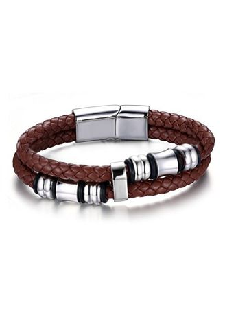 "น้ำตาล color สร้อยข้อมือ . Men Fashion Stainless Steel Braided Brown Leather Strand Wrap Bangle Bracelet,Silver,Width 14mm,8.2"" -"