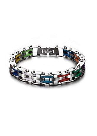 เงิน color สร้อยข้อมือ . Mens Rainbow Silicone Stainless Steel Bike Chain Bracelet,Polish Finished,Length 215mm -