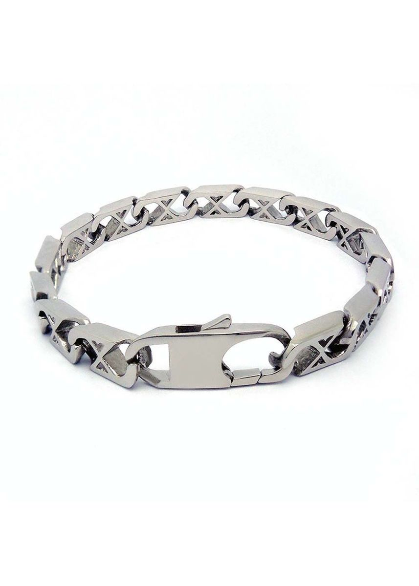 เงิน color สร้อยข้อมือ . Men'S Jewelry Stainless Steel Retro Cool Link Bangle Bangle Bracelet -