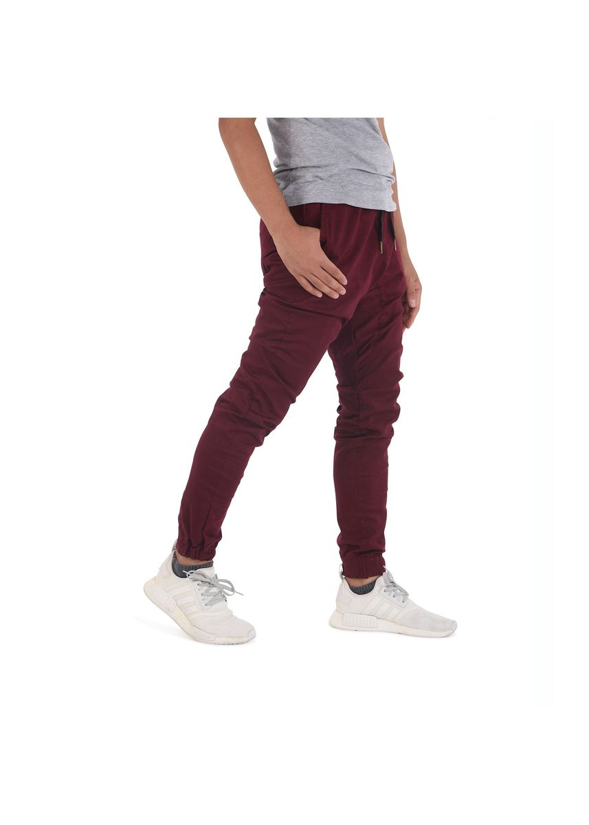 Maroon color Casual Trousers and Chinos . Capsule Jogger Pants - Burgundy -