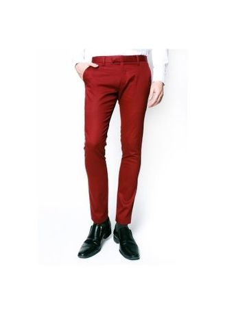 Red color Formal Trousers . Men Red Chino Pants -
