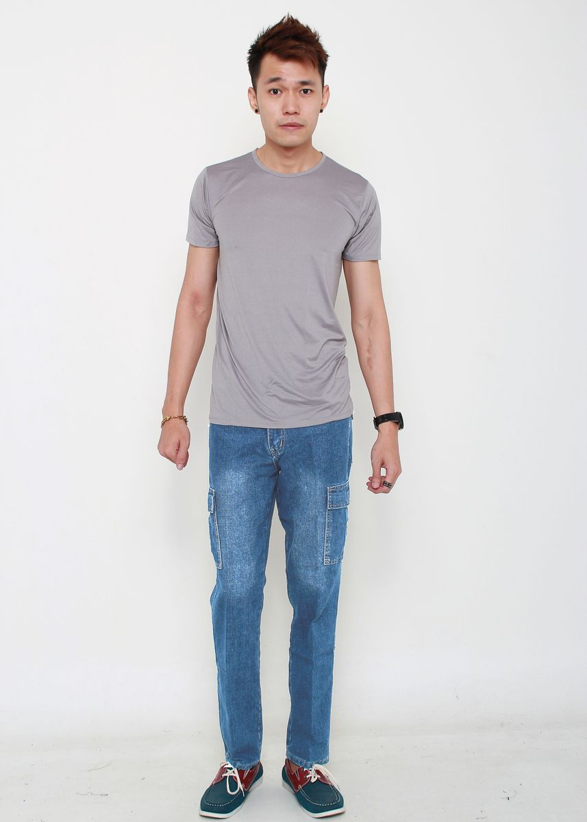 Blue color Jeans . Denim Cargo Long Pants -
