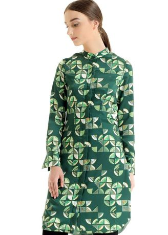 Green color Tops and Tunics . Bateeq Long Sleeve Cotton Print Blouse FL17/005D -