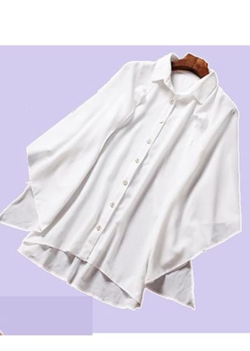 White color Tops and Tunics . Batwing Sleeve Chiffon Blouse -