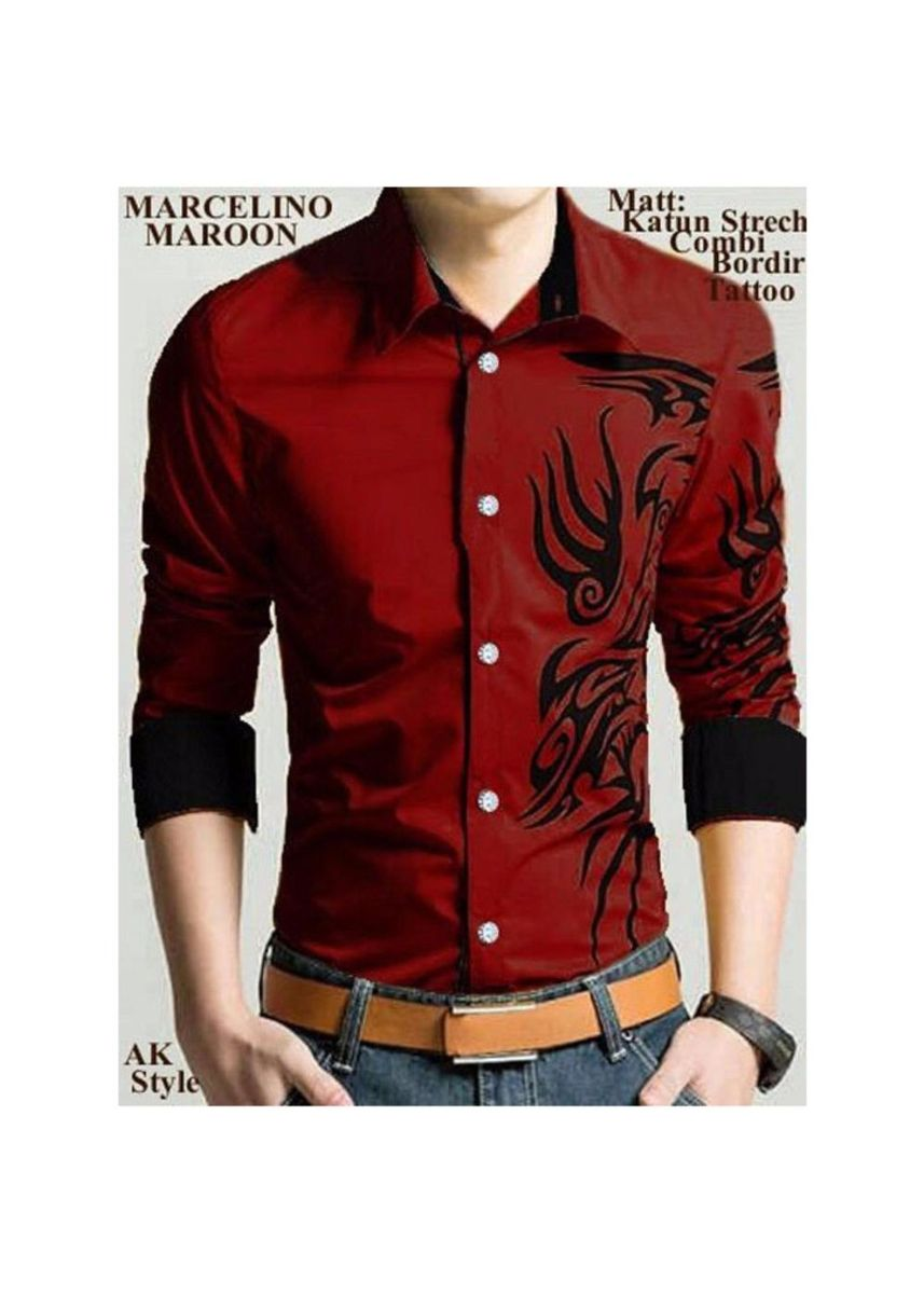 Maroon color Casual Shirts . Kyoko Fashion Shirt Calvin - RU -