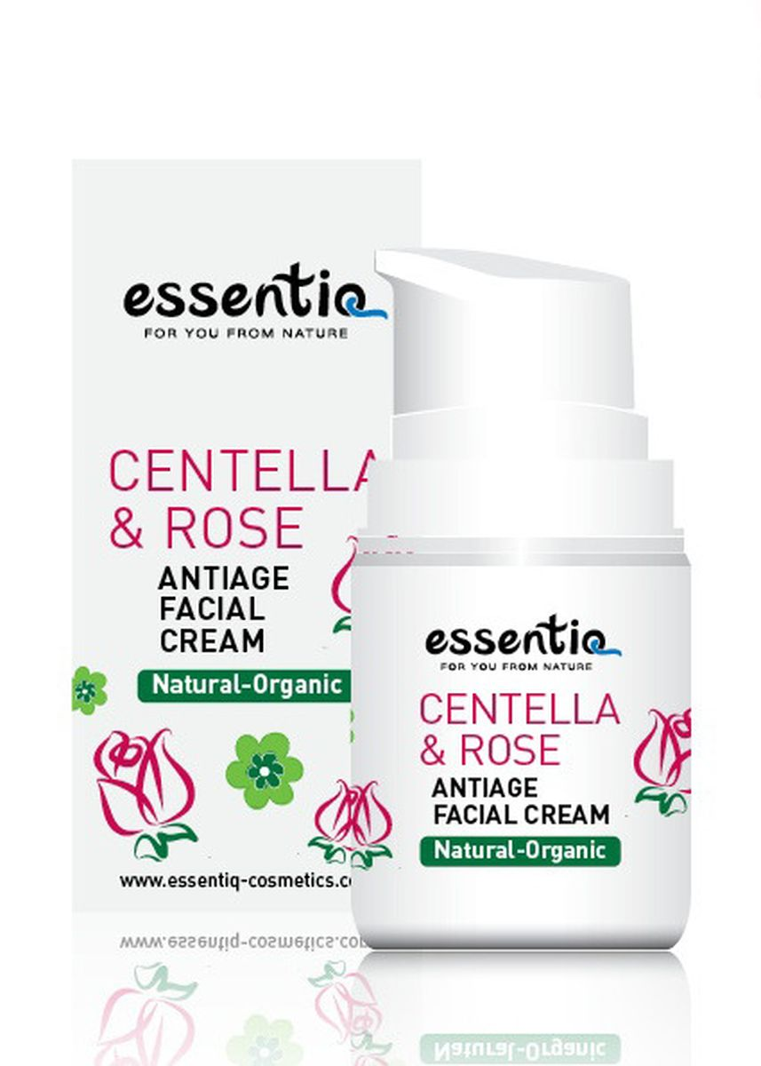 White color Anti-aging . Essentiq Anti-Age Facial Cream Centella & Rose - 50ml -