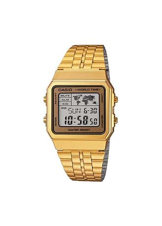 Gold color Digital . Casio General Water Resistant Led Backlight Watch -