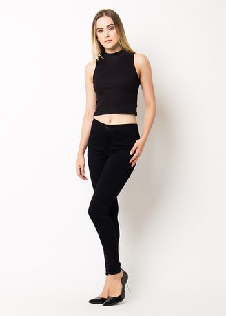 Black color Jeans . Nuber Celana Panjang Jeans Highwaist Wanita Black Stretch - Petunia -