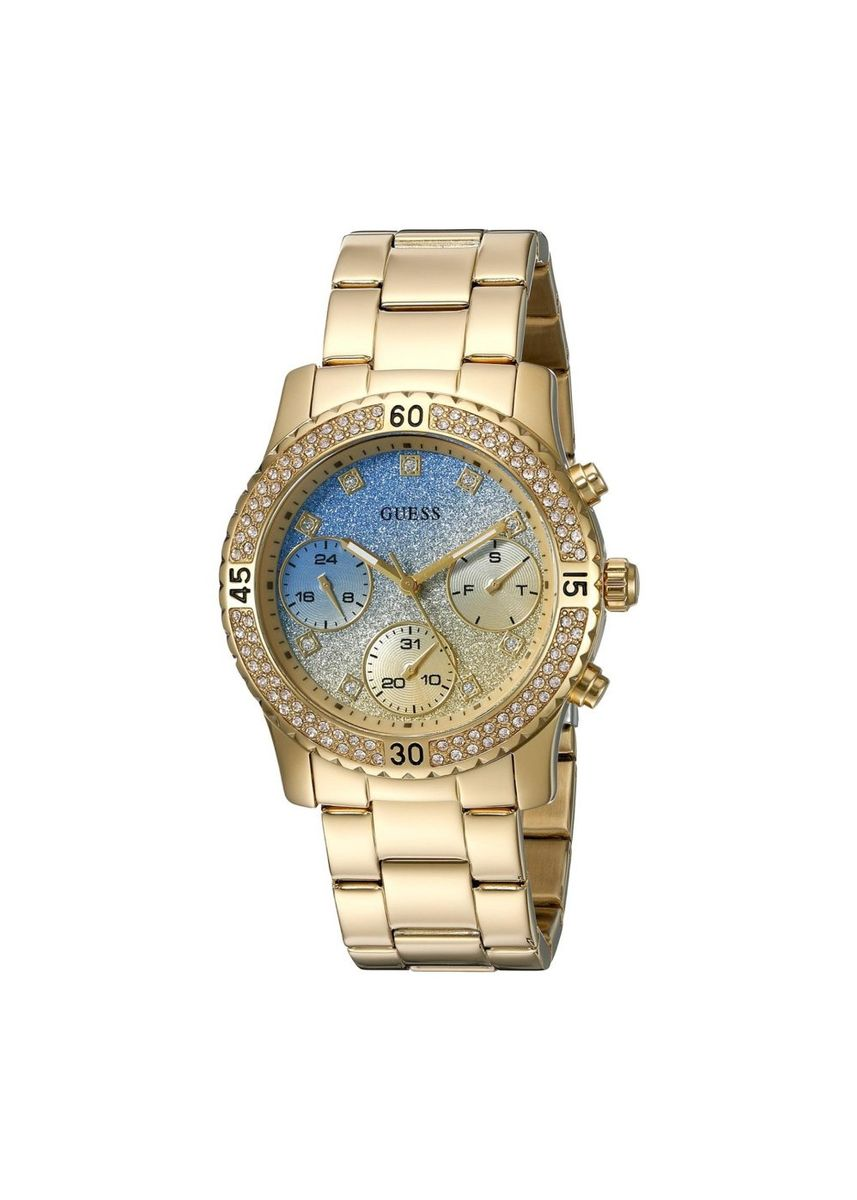 Gold color Analog . GUESS Women's U0774L2 Gold-Tone Watch with Iconic Sky Blue Multi-Function Dial -