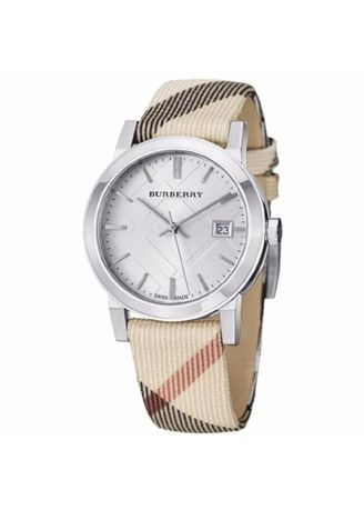 Beige color Analog . Burberry Women's Watch Nylon Strap BU9022 - Beige/White -