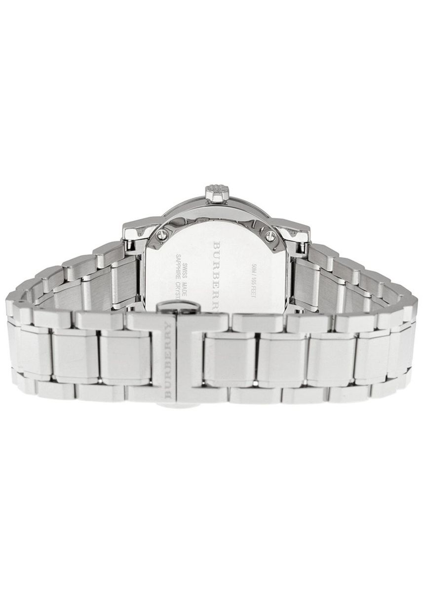 Silver color Analog . Burberry Women's Watch Mother of Pear diamond set Silver Stainless Steel Strap BU9224 -