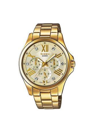 Gold color Analog . Casio Sheen Band One-Touch 3-Fold Clasp Watch -