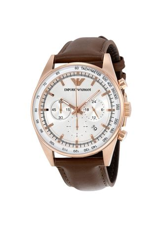 Brown color Analog . Armani Watches Classic Brown Leather Ladies Chronograph Watch AR5996 -