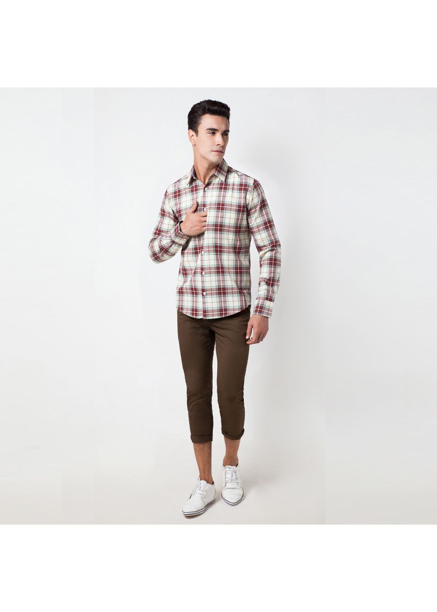 Beige color Casual Shirts . Août Singapore - Men's Long Sleeved Shirt -