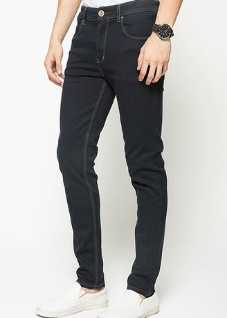 Black color Jeans . 2Nd RED Celan Jeans Slim Fit Hitam Stiching Contras 133206B -
