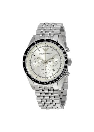 Silver color Analog . Armani Sportivo Chronograph Silver Dial Stainless Steel Mens Watch AR6073 -