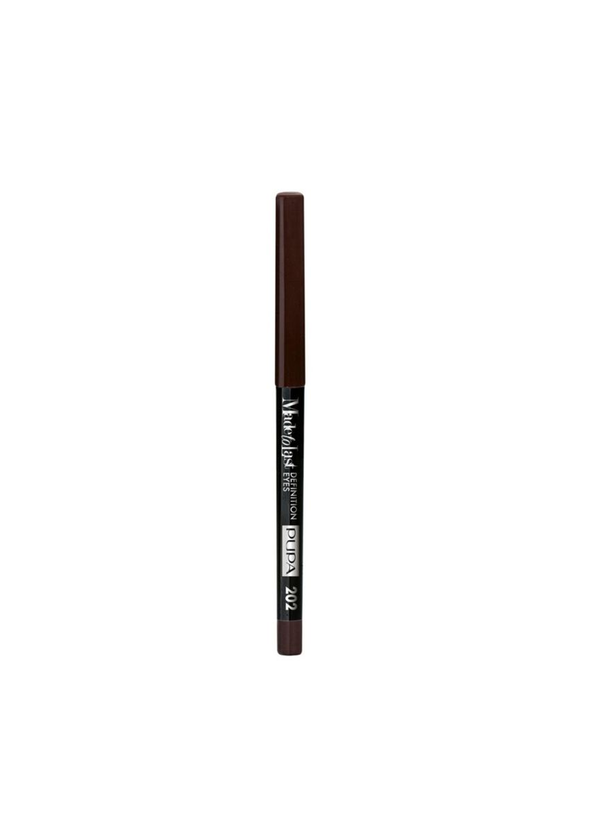 Brown color Eyes . PUPA Made To Last Definition Eye Pencil - 202 Dark Cocoa -